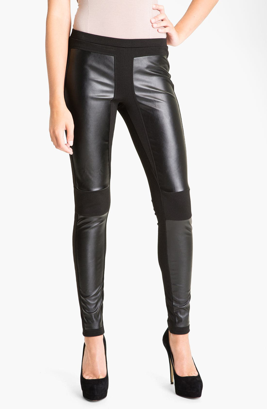 Alternate Image 1 Selected - Trouvé Faux Leather Panel Leggings