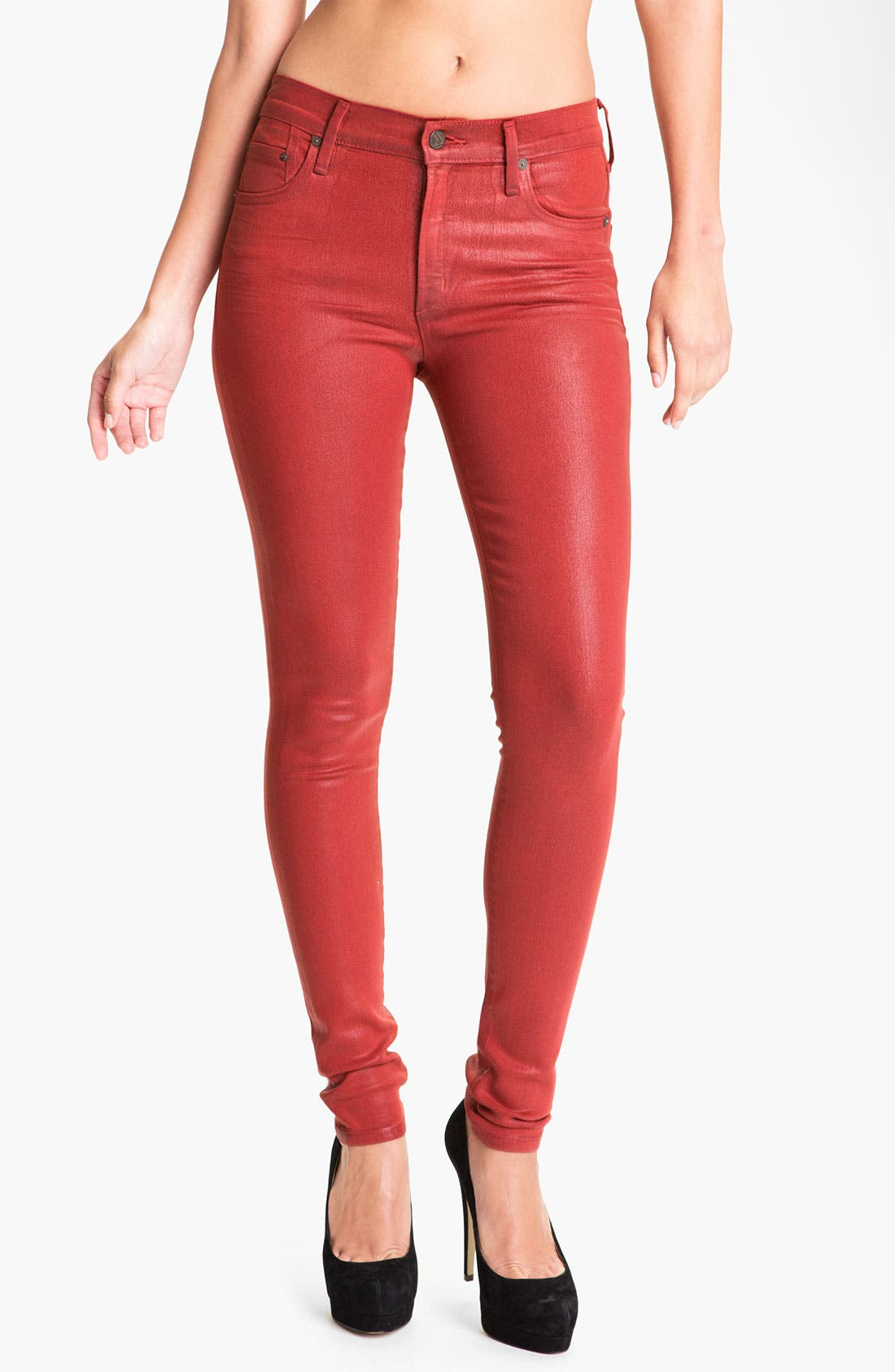Alternate Image 1 Selected - Citizens of Humanity 'Rocket' Skinny Leatherette Jeans (Vamp Red)