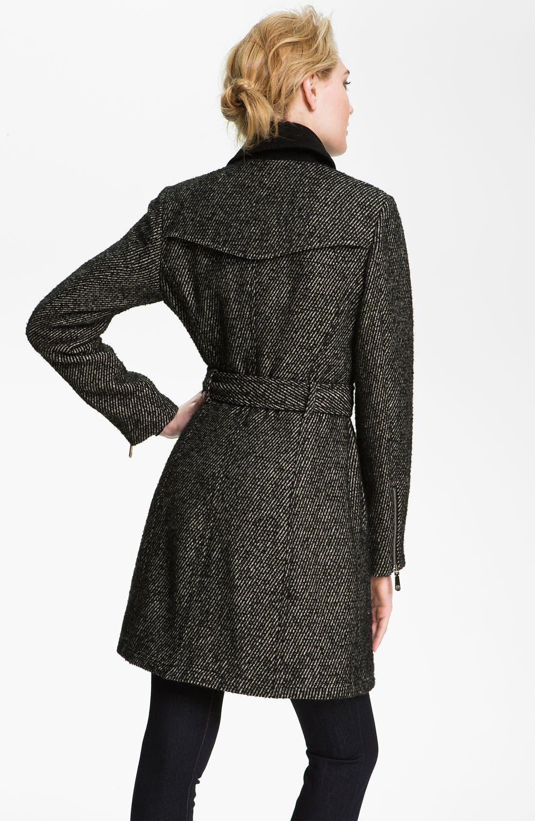 Alternate Image 2  - Vince Camuto Asymmetrical Zip Tweed Trench Coat