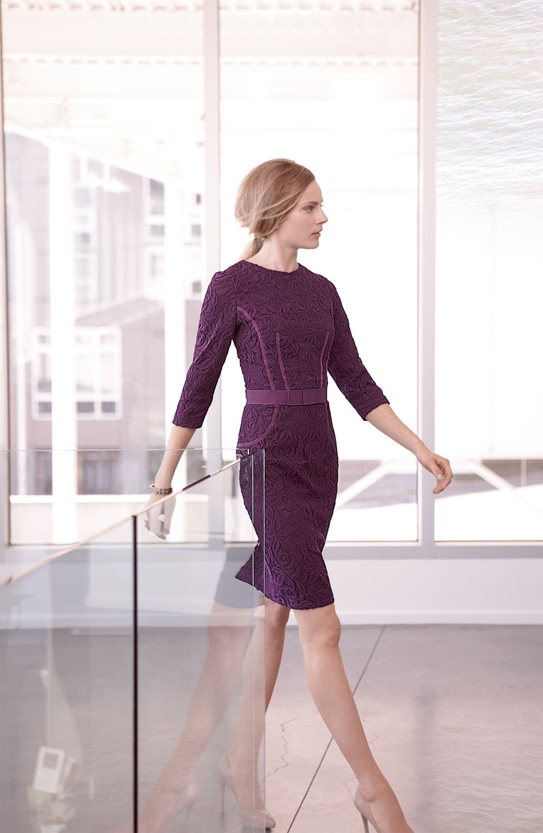 Alternate Image 4  - Taylor Dresses Long Sleeve Lace Dress (Plus)