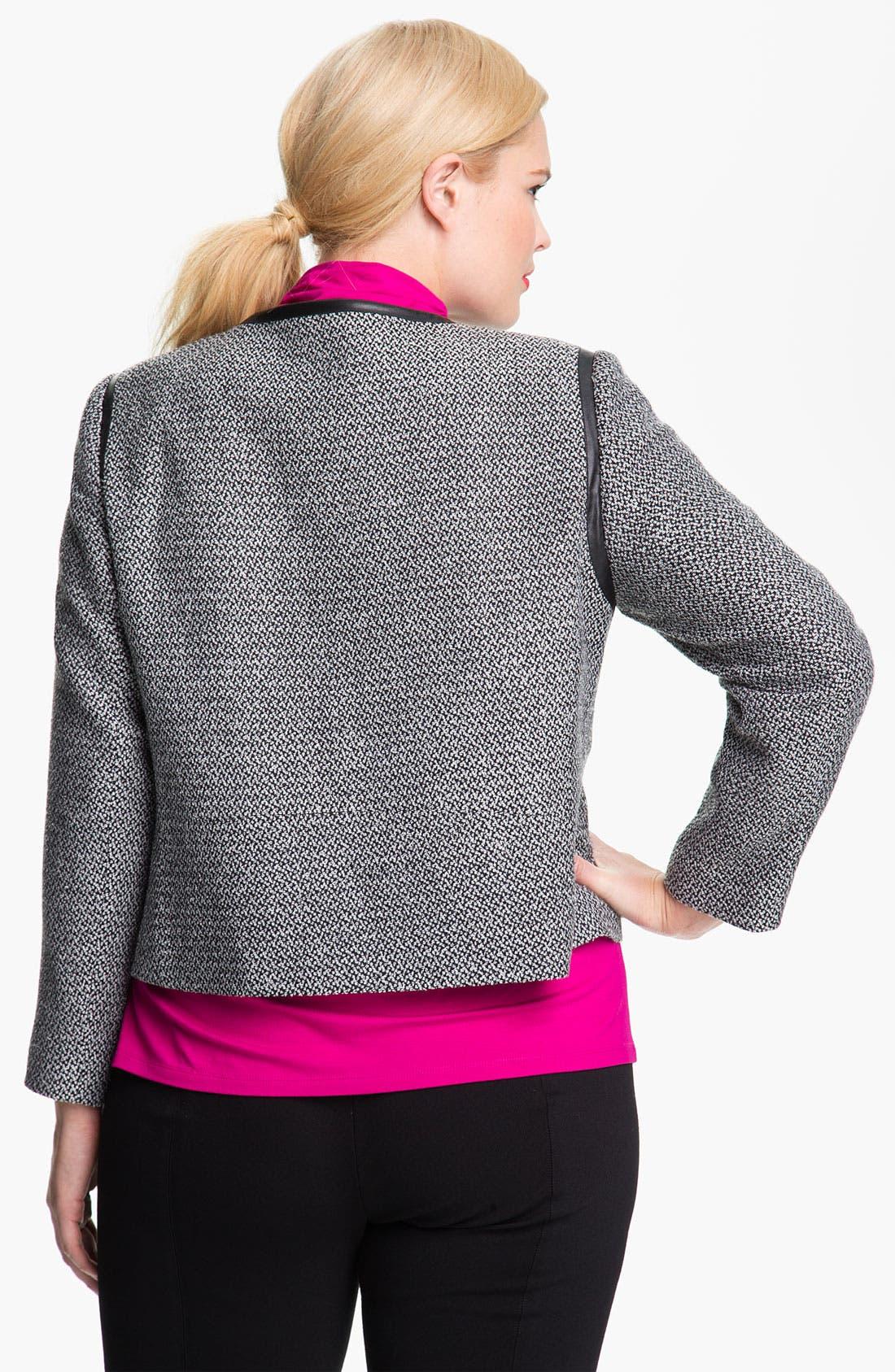 Alternate Image 2  - Vince Camuto Faux Leather Trim Tweed Jacket (Plus)