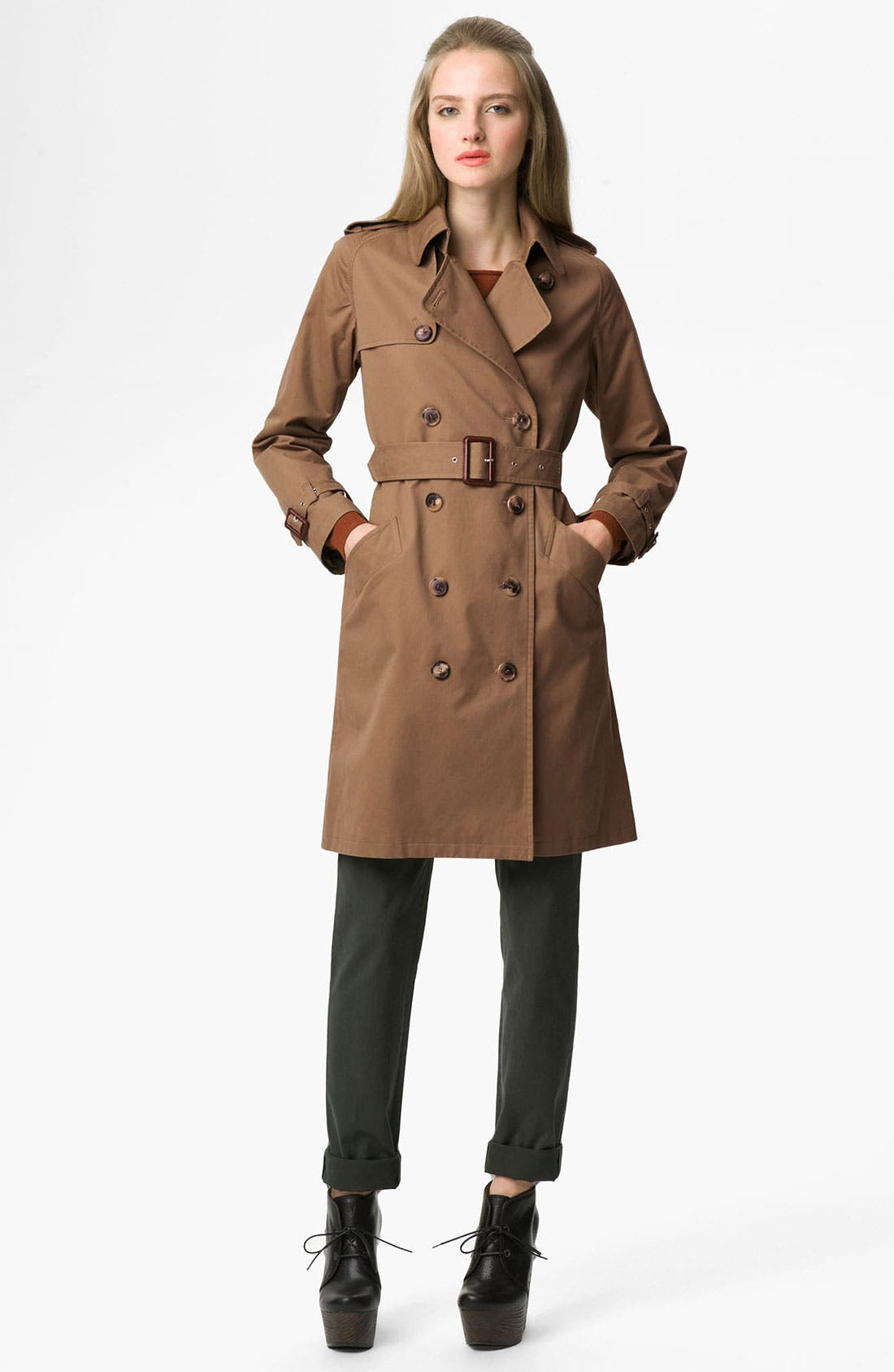Alternate Image 1 Selected - A.P.C. Belted Gabardine Trench Coat