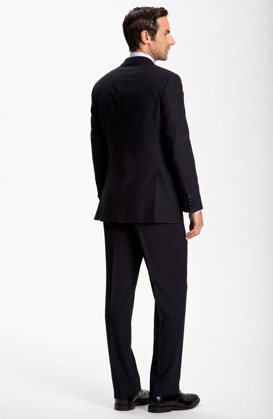 Alternate Image 2  - Armani Collezioni Trim Fit Black Wool Suit