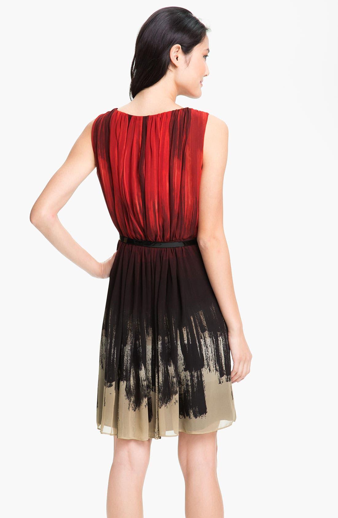 Alternate Image 2  - Calvin Klein Gradient Print Belted Chiffon Dress