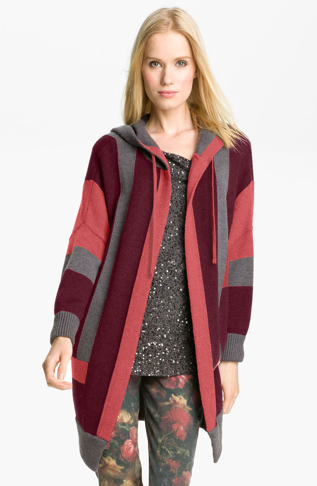 Main Image - Haute Hippie Colorblock Hooded Cardigan