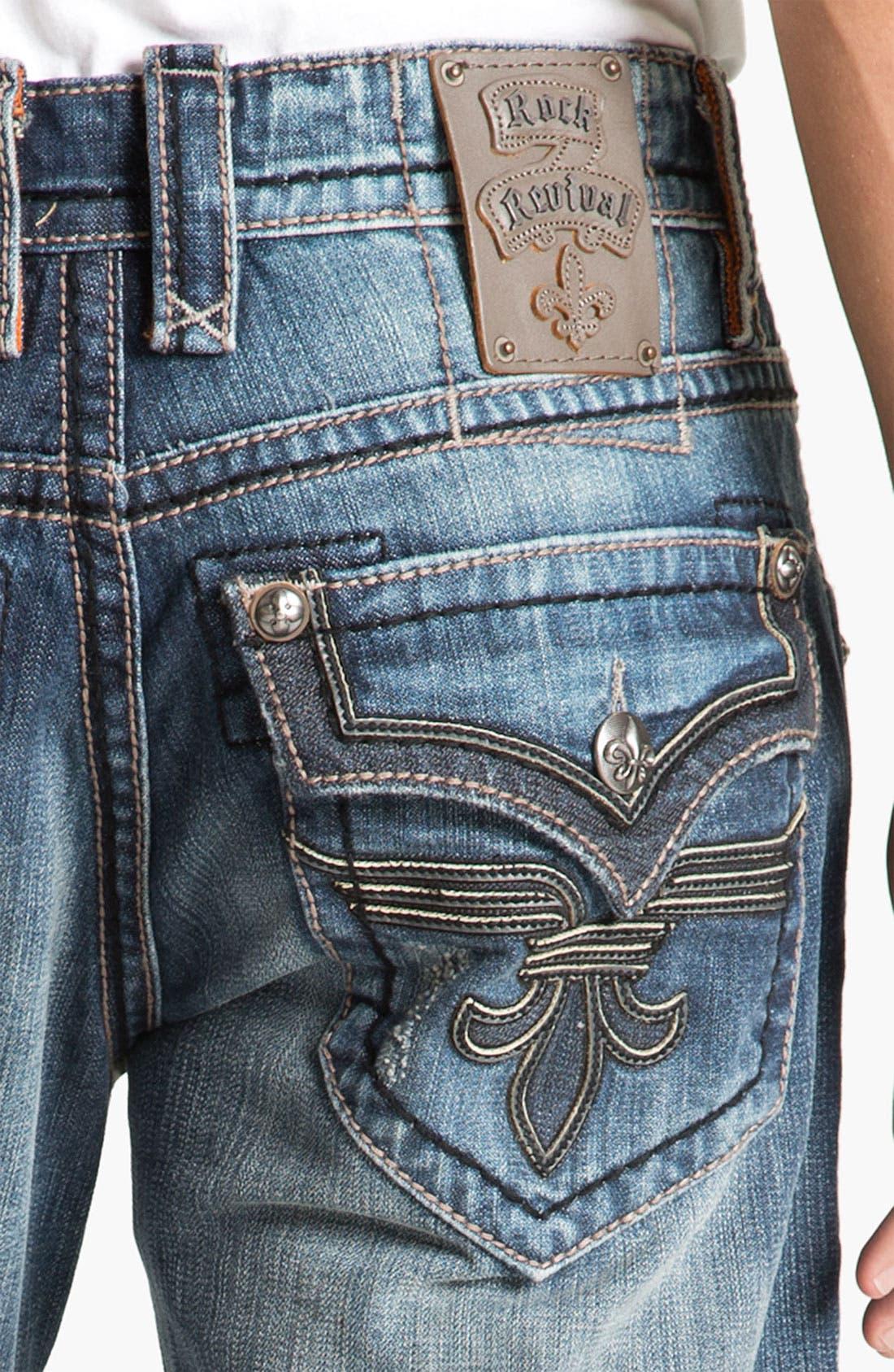 Alternate Image 4  - Rock Revival 'Chopper' Straight Leg Jeans (Vintage Blue)