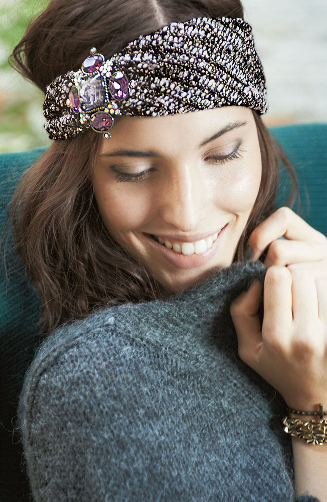 Alternate Image 3  - Cara 'Jewel Sparkle' Tweed Head Wrap