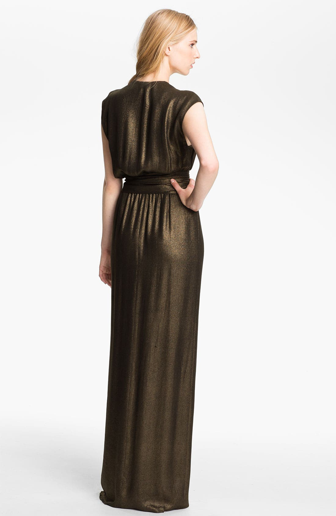 Alternate Image 2  - L'AGENCE Tie Waist Draped Gown
