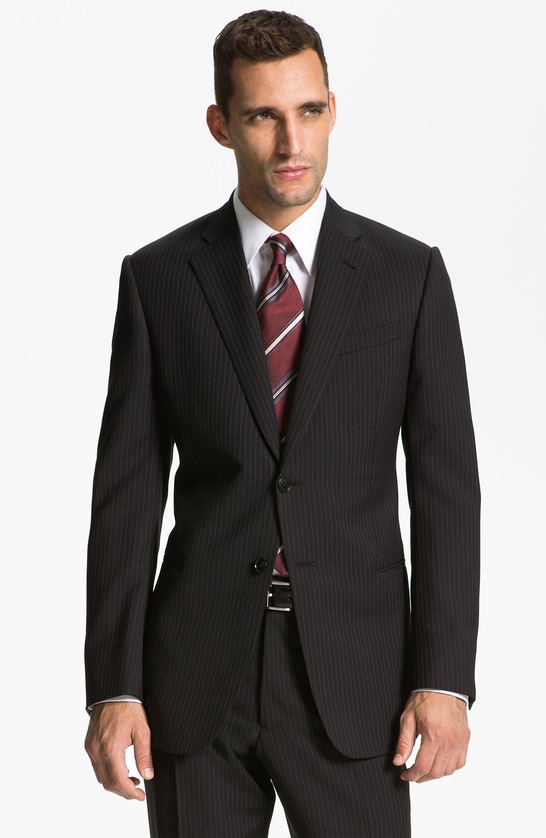 Alternate Image 1 Selected - Armani Collezioni 'Giorgio' Trim Fit Stripe Suit