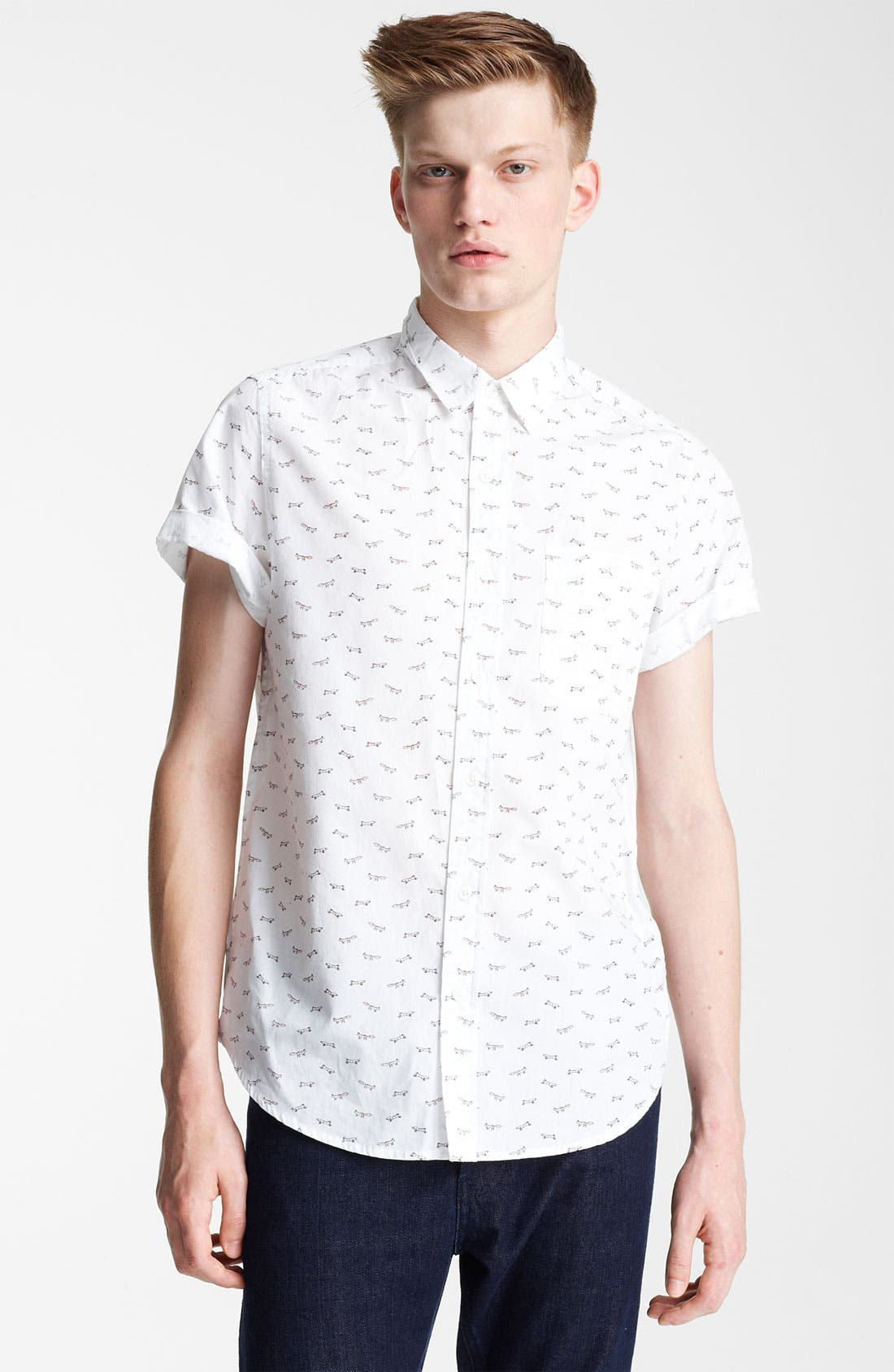 Alternate Image 1 Selected - Topman 'High Roller' All Over Fox Pattern Shirt