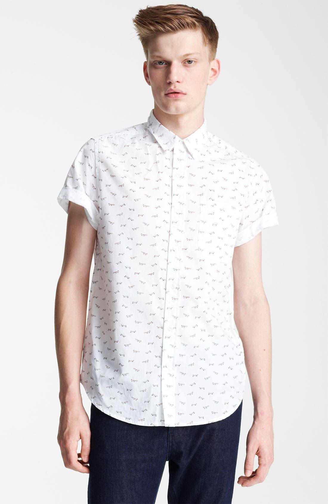 Main Image - Topman 'High Roller' All Over Fox Pattern Shirt
