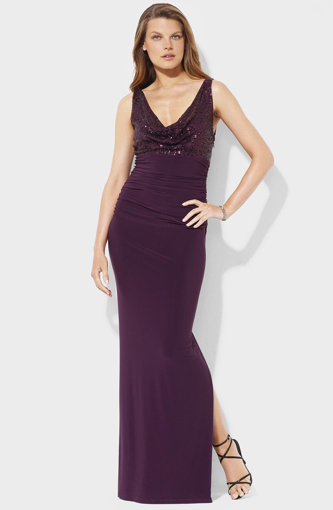 Main Image - Lauren Ralph Lauren Sequin Cowl Neck Jersey Gown