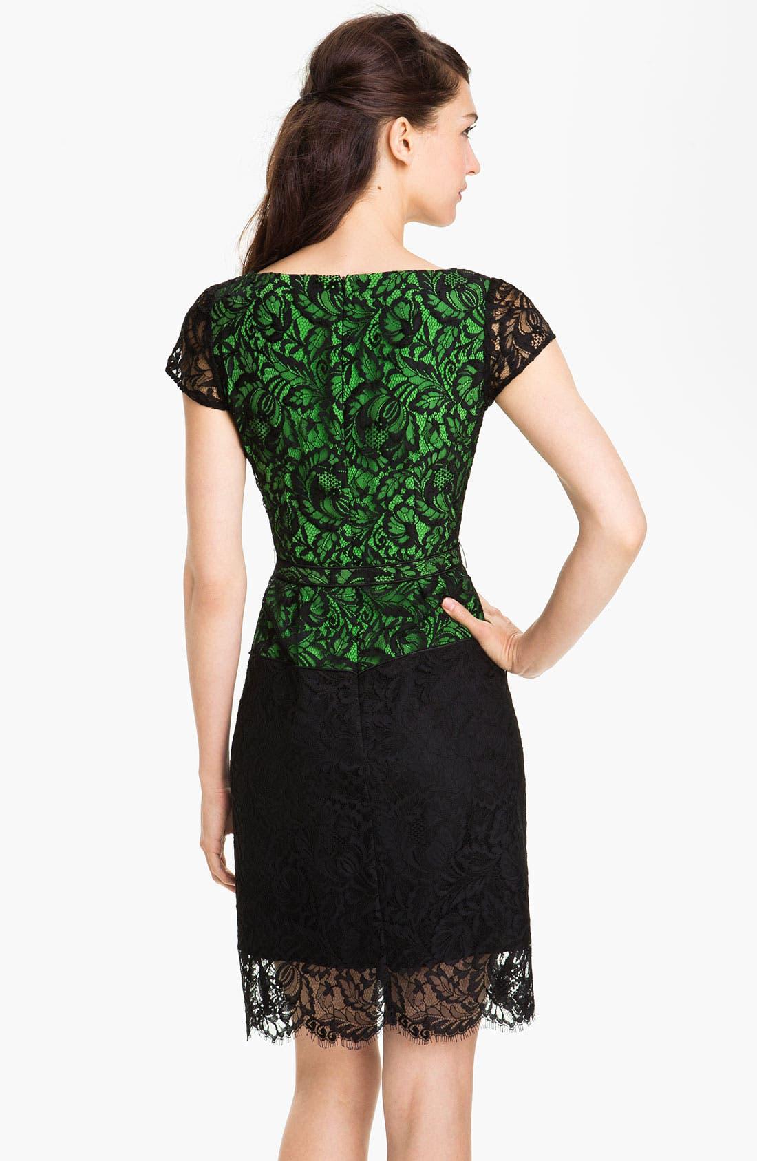 Alternate Image 2  - Nanette Lepore Belted Lace Sheath Dress