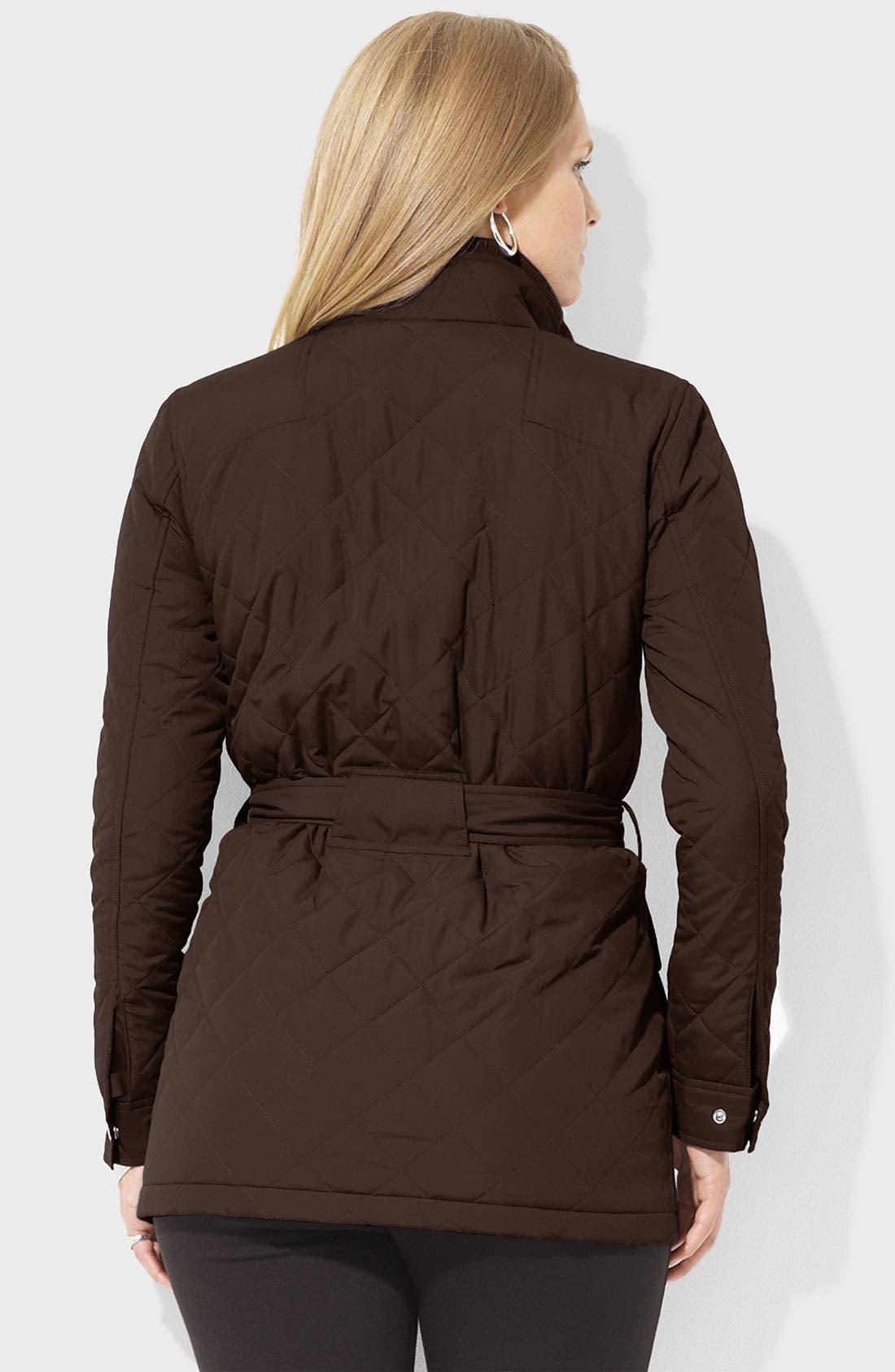 Alternate Image 2  - Lauren Ralph Lauren Belted Snap Front Jacket (Plus)