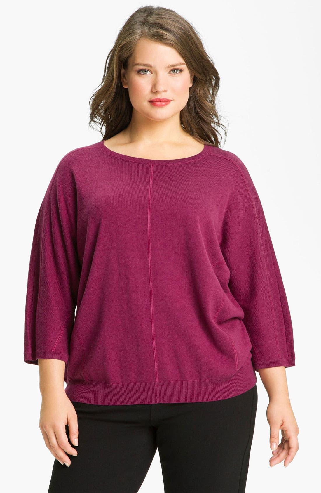 Main Image - Sejour Seamed Dolman Sleeve Sweater (Plus)