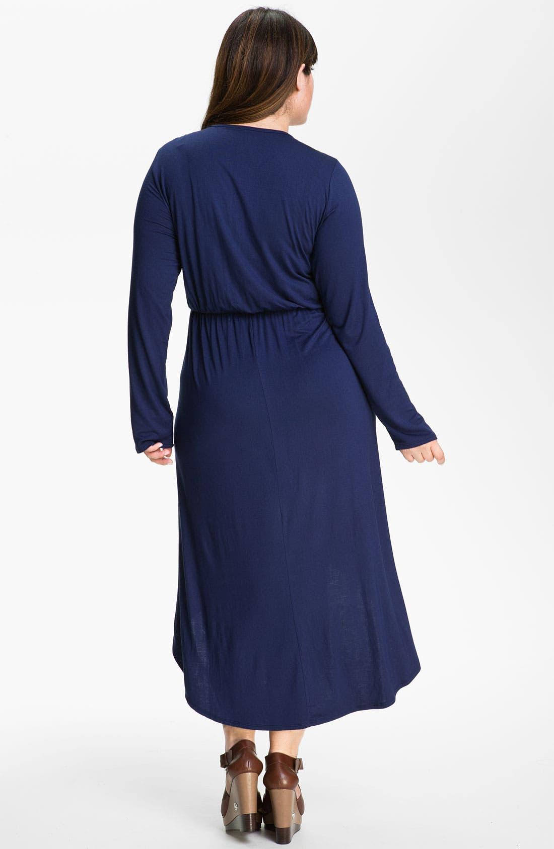 Alternate Image 2  - Loveappella High Low Faux Wrap Dress (Plus)