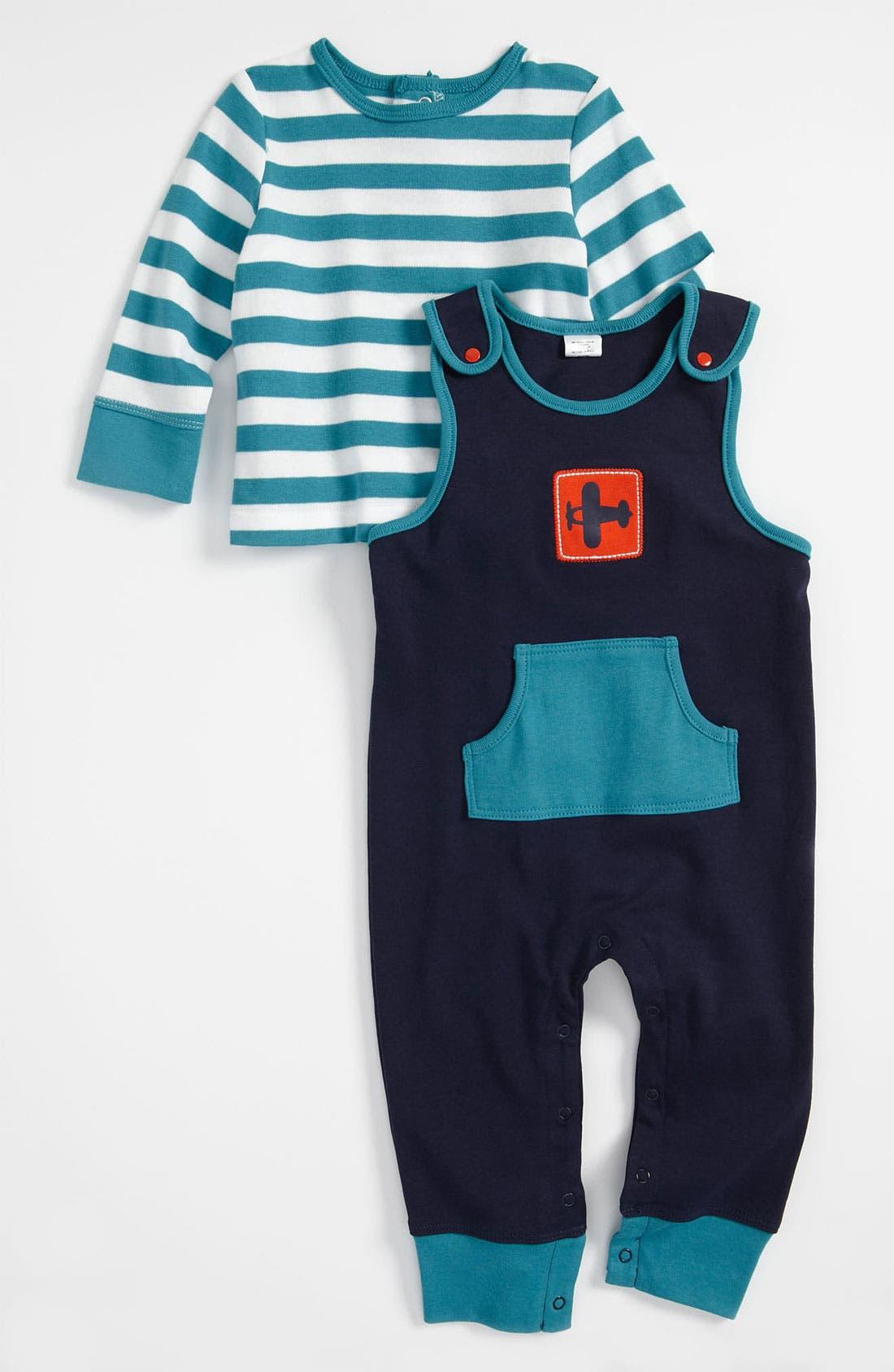 Main Image - Offspring Overalls & Shirt Set (Infant)