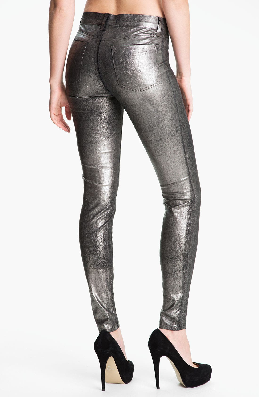 Alternate Image 2  - J Brand Metallic Stretch Denim Leggings
