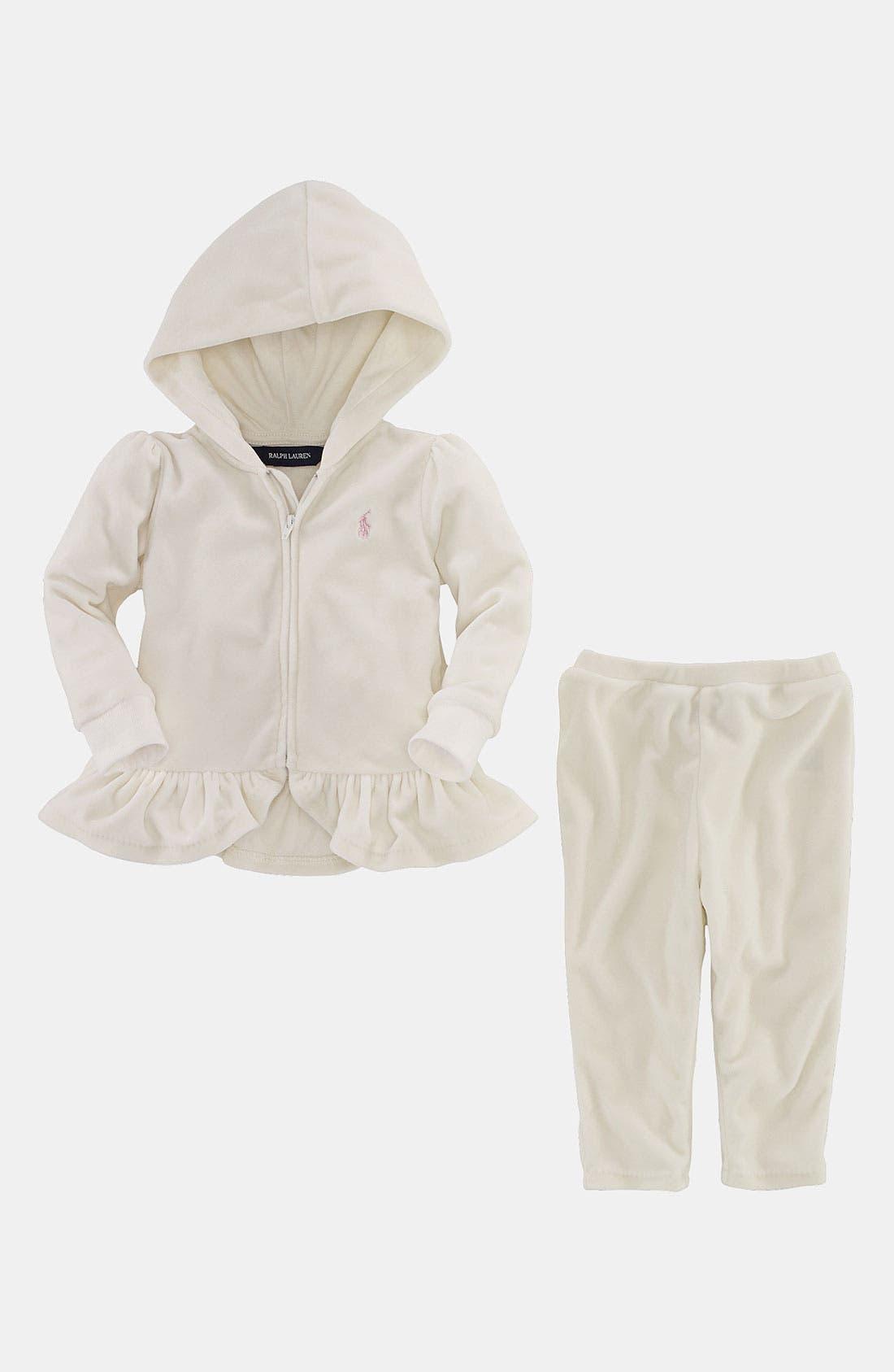 Alternate Image 2  - Ralph Lauren Velour Hoodie & Pants (Infant)