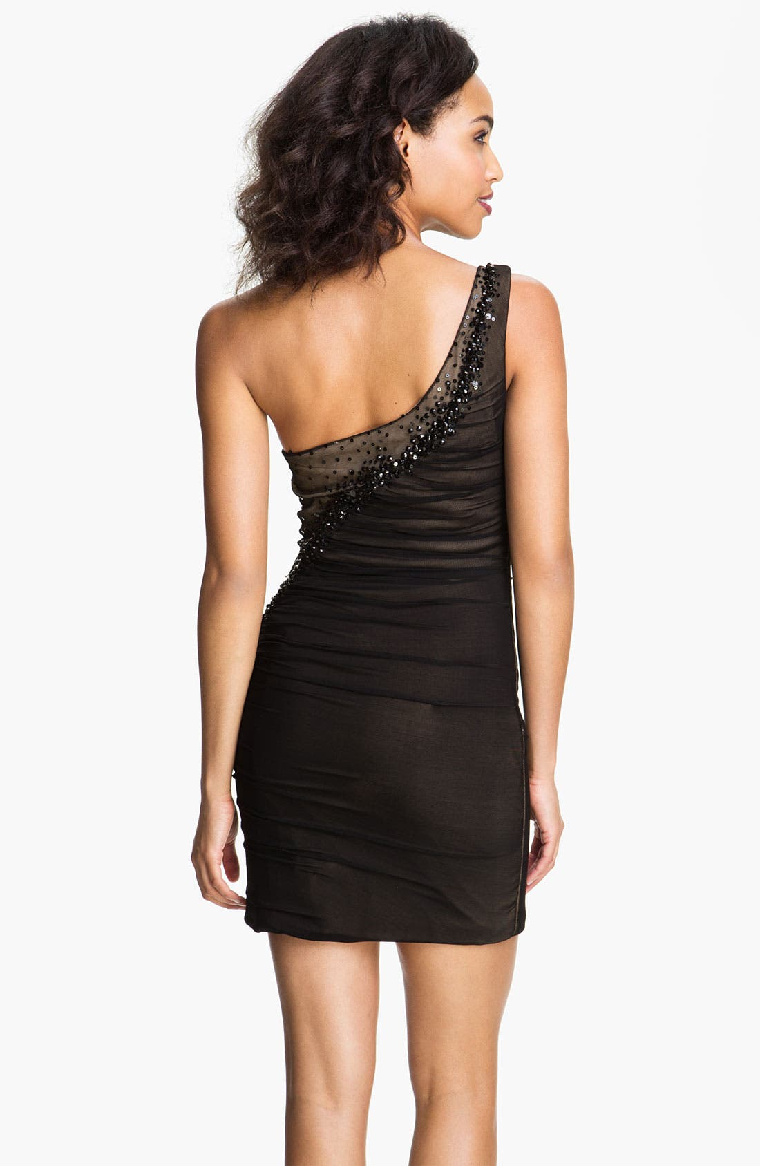 Alternate Image 2  - La Femme One Shoulder Beaded Trim Mesh Dress