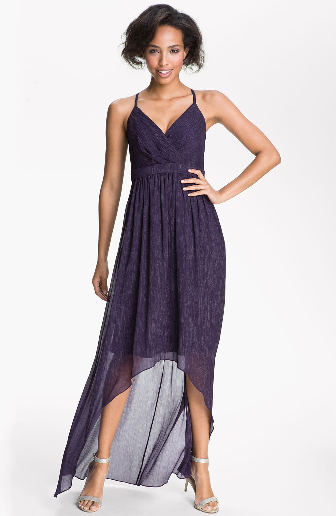 Alternate Image 1 Selected - Max & Cleo 'Sophia' Metallic Chiffon High/Low Dress