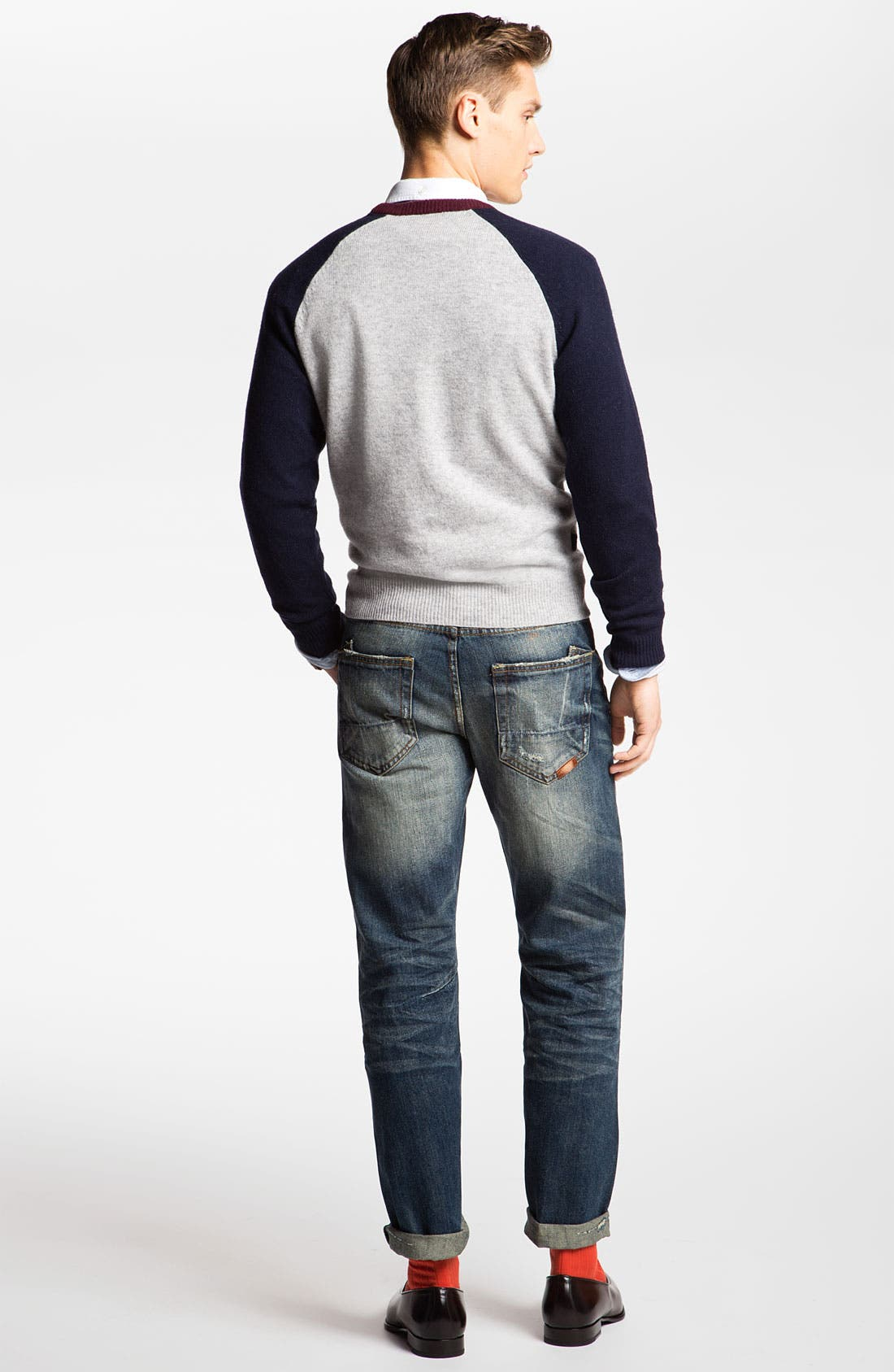 Alternate Image 2  - Brooks Brothers Sweater, Oxford Shirt & PRPS Straight Leg Jeans