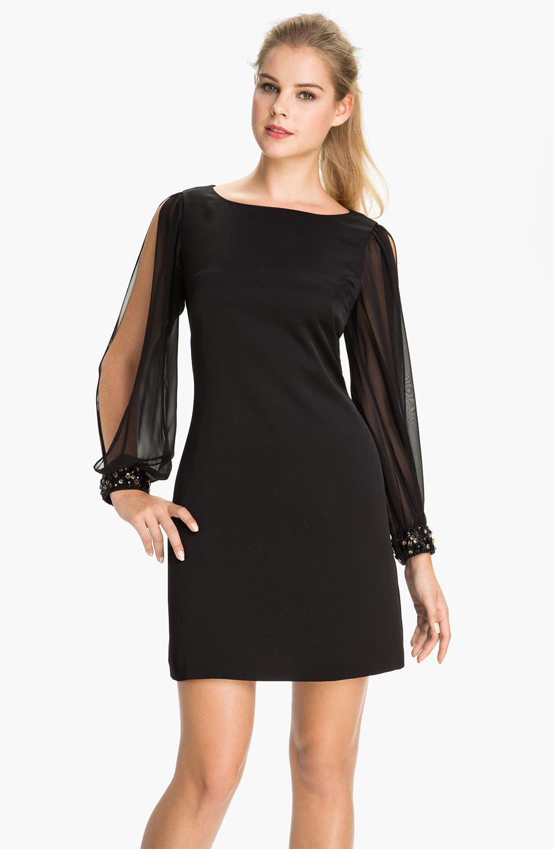 Alternate Image 1 Selected - Eliza J Chiffon Split Sleeve Crepe Shift Dress