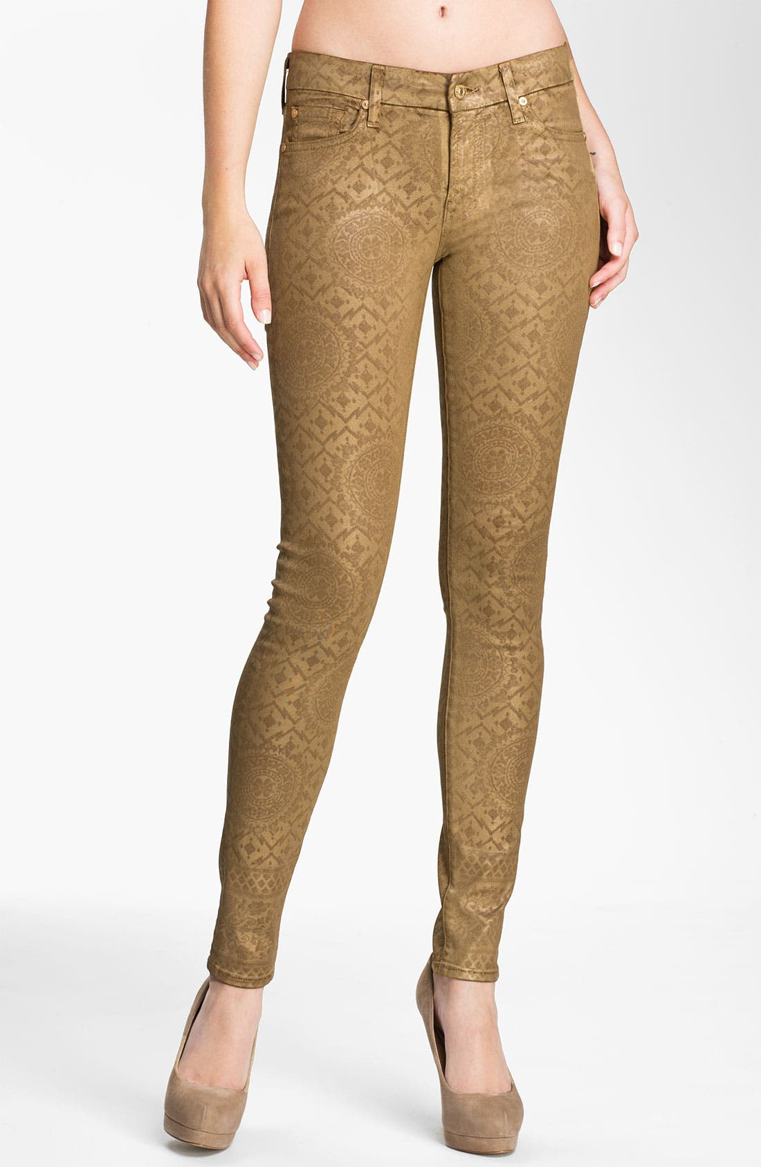 Main Image - 7 For All Mankind® Coated Print Skinny Jeans (Gold Artisan)