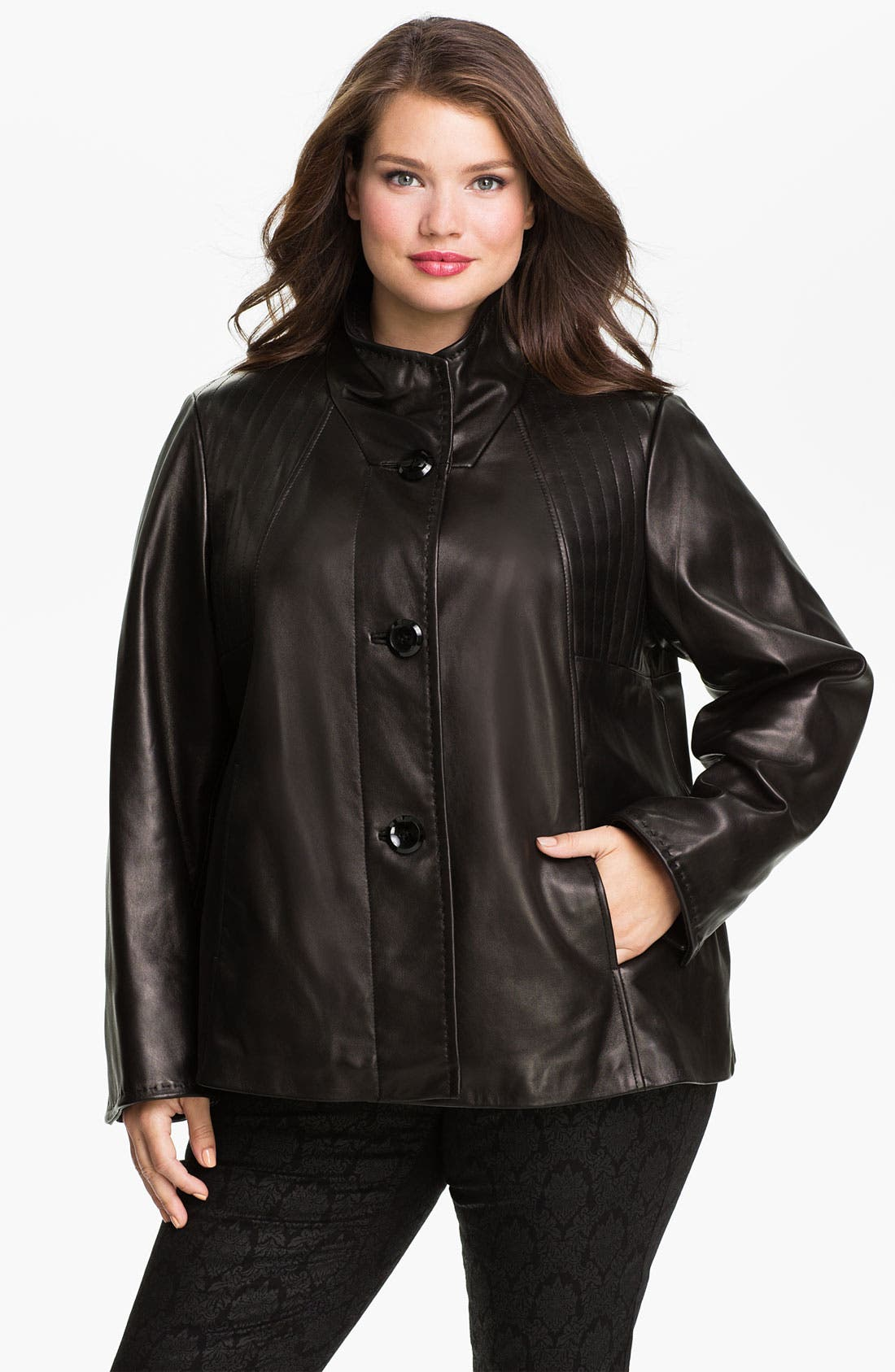 Main Image - Ellen Tracy Button Up Leather Jacket (Plus) (Nordstrom Exclusive)