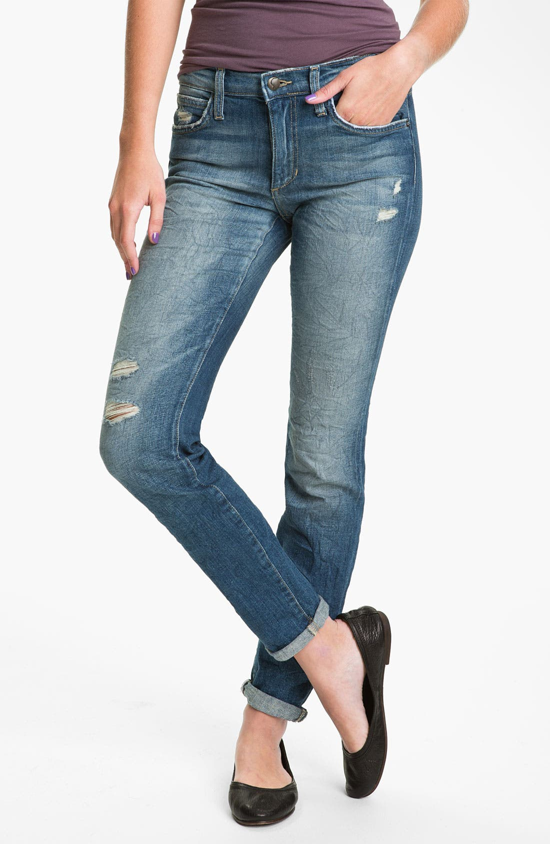 Alternate Image 1 Selected - Joe's Distressed Skinny Stretch Jeans (Renah)