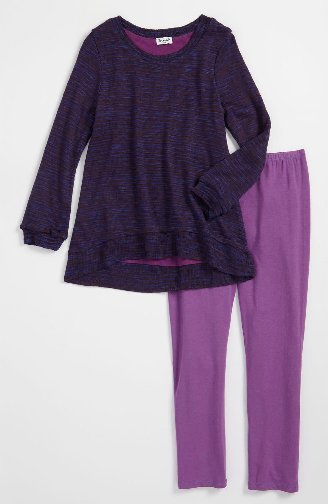Main Image - Splendid 'Feathery' Knit Tunic & Leggings (Little Girls)