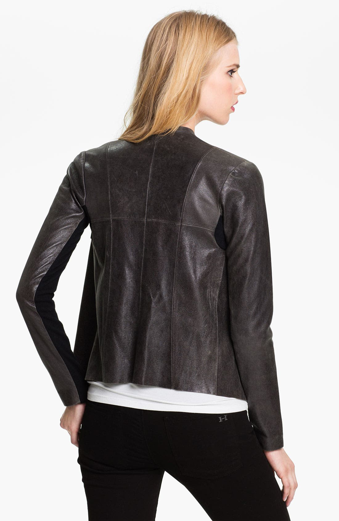 Alternate Image 2  - Veda 'Libra' Drape Front Leather Jacket