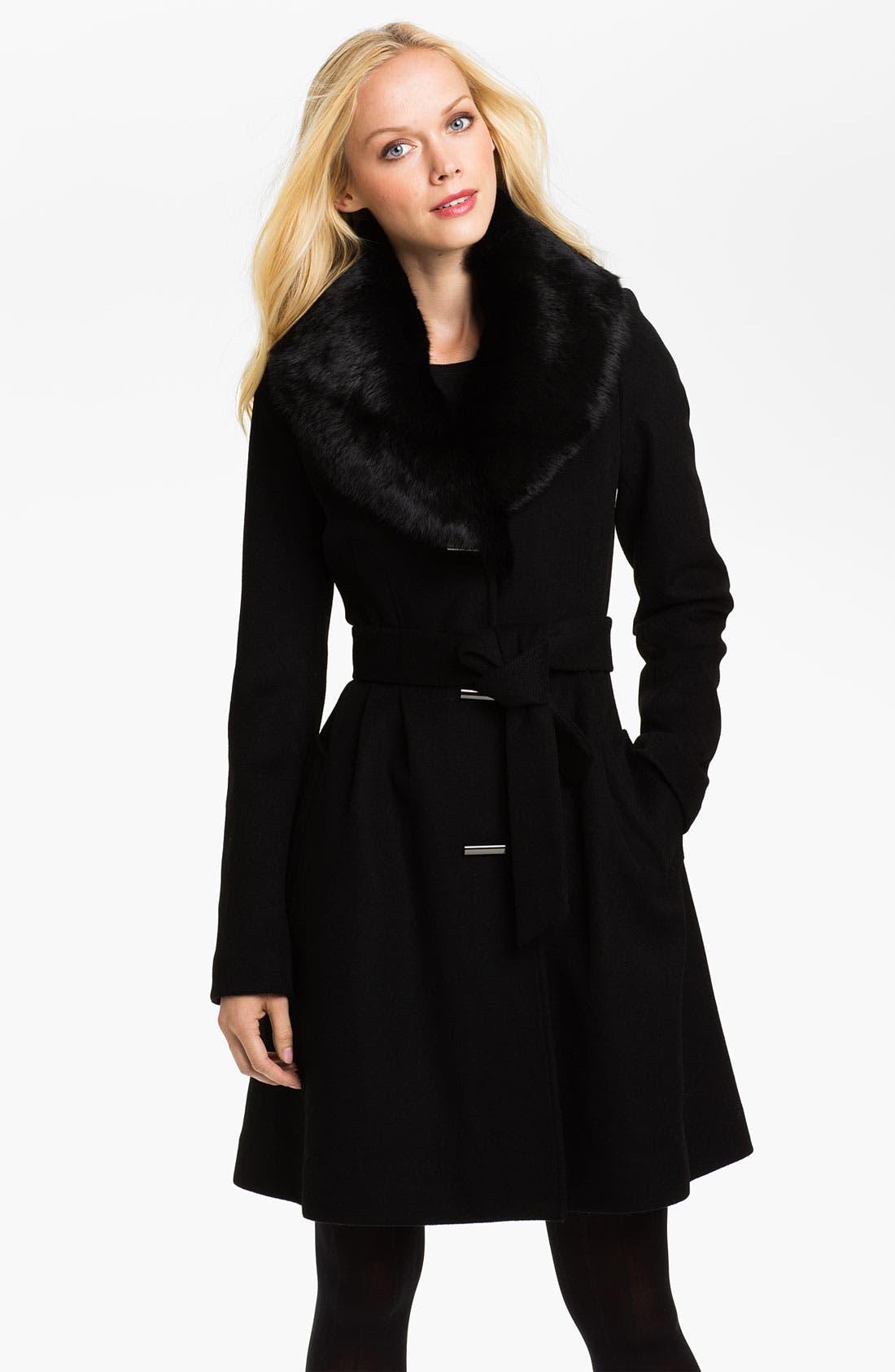 Main Image - Badgley Mischka 'Julia' Genuine Rabbit Collar Coat
