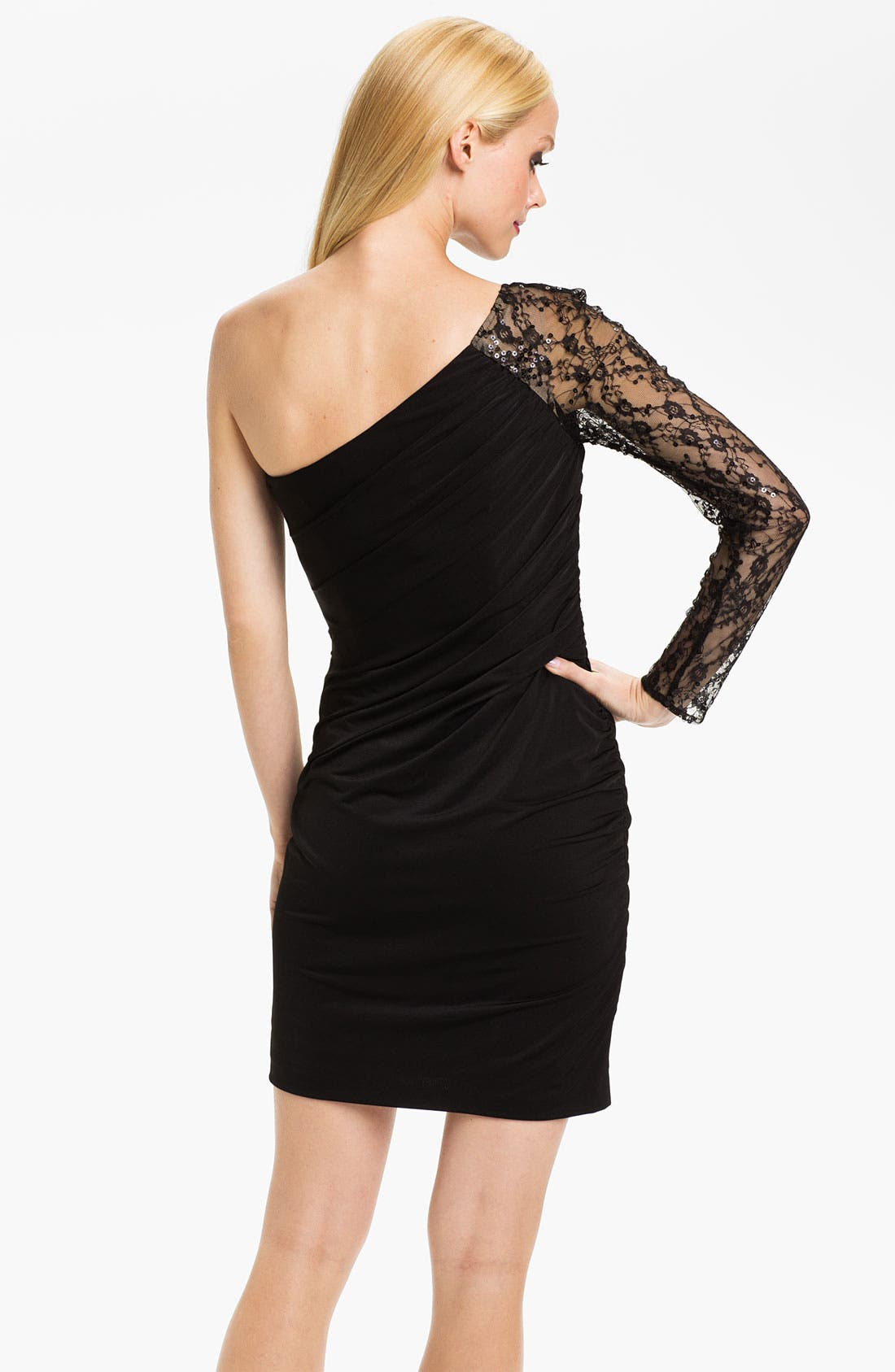 Alternate Image 2  - Aidan Mattox One Sleeve Lace & Jersey Sheath Dress (Online Only)