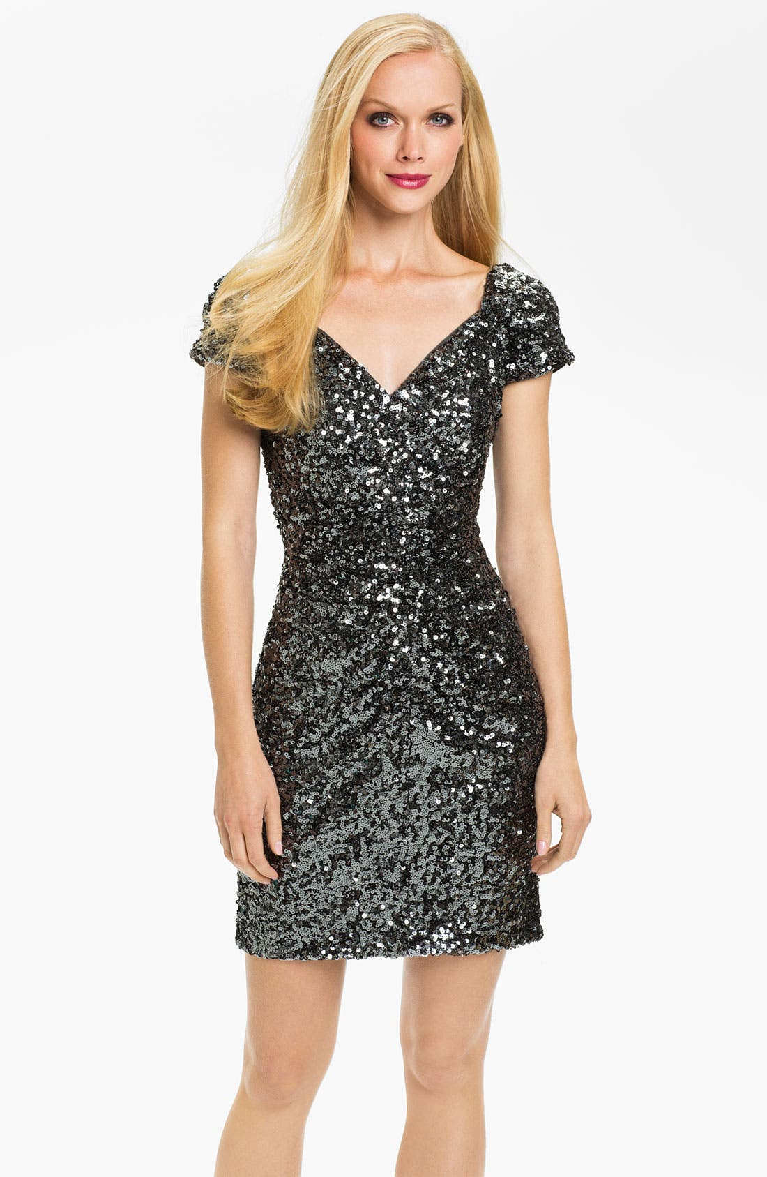 Main Image - Hailey by Adrianna Papell Short Sleeve Sequin Dress