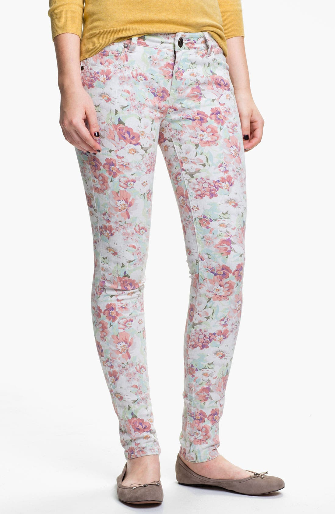 Alternate Image 2  - Fire Floral Print Skinny Jeans (Juniors)
