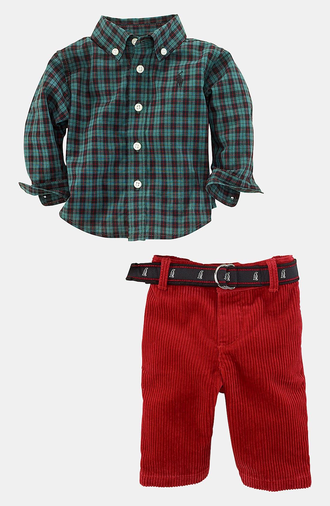 Alternate Image 2  - Ralph Lauren Woven Shirt & Pants (Infant)