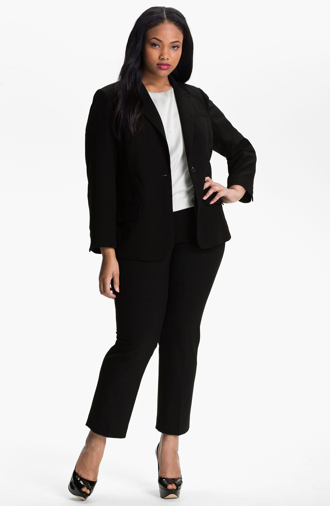 Alternate Image 1 Selected - Vince Camuto Print Lined Blazer (Plus)