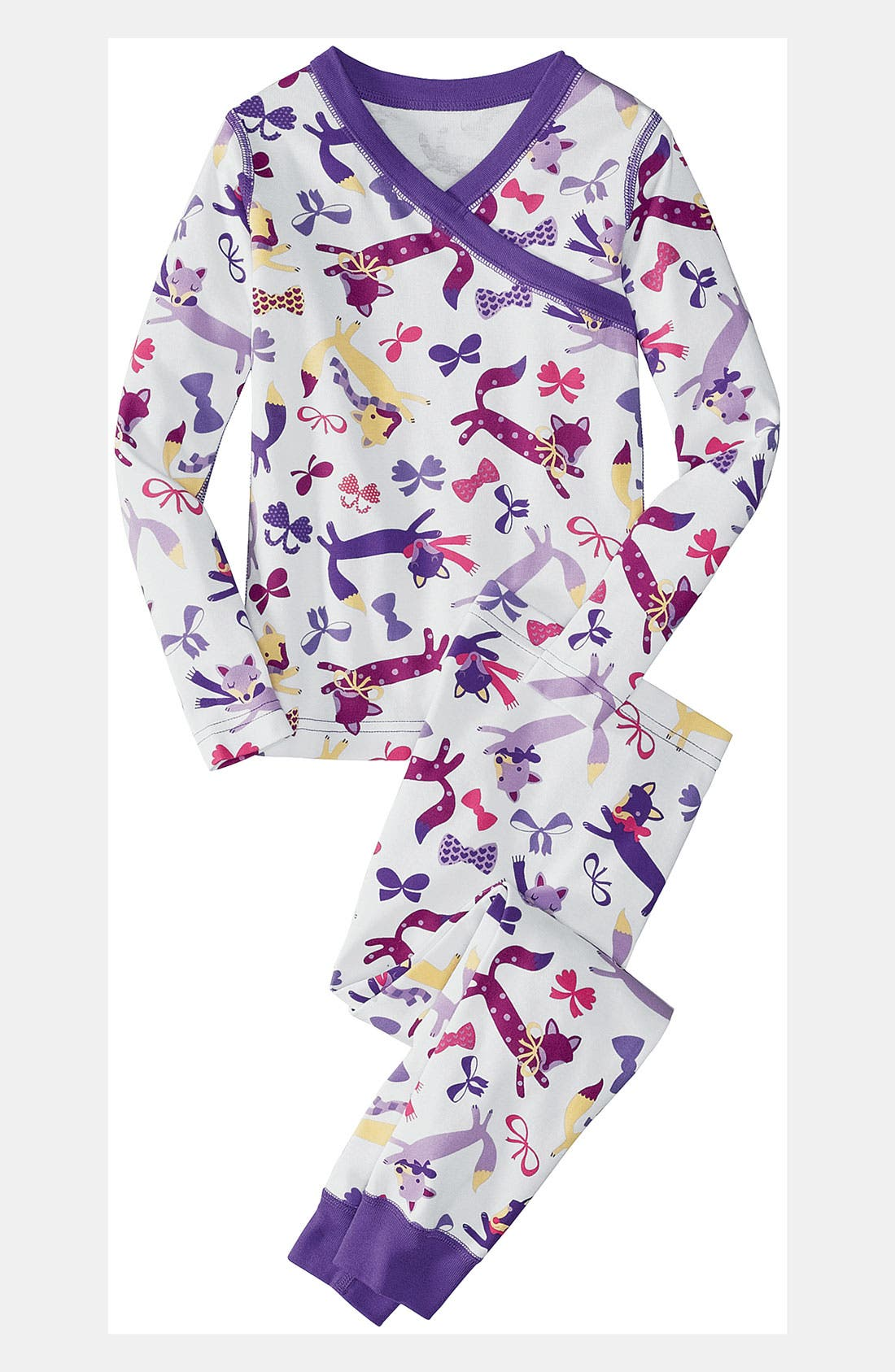 Alternate Image 1 Selected - Hanna Andersson Two Piece Fitted Pajamas (Little Girls & Big Girls)