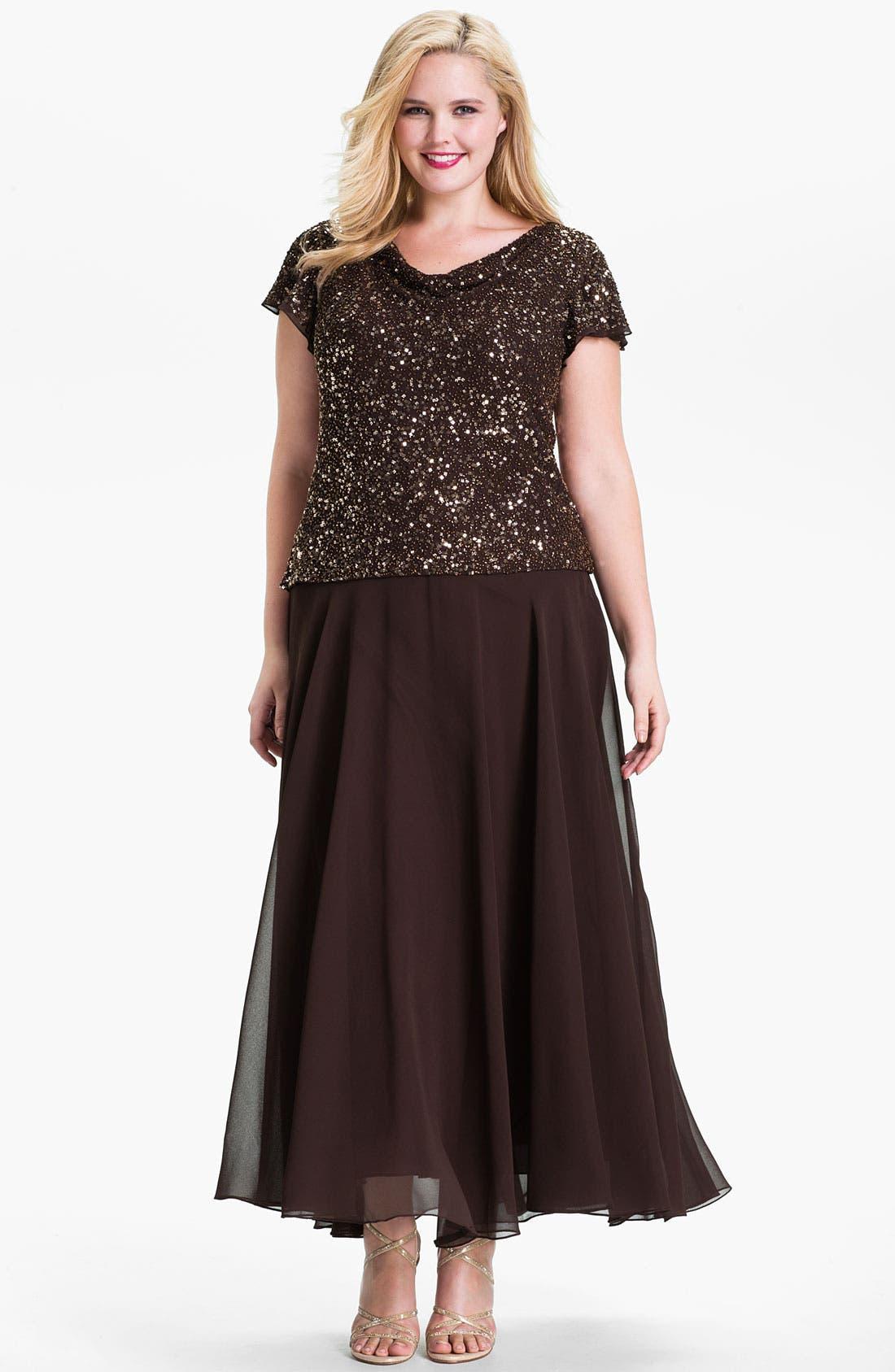 Alternate Image 1 Selected - J Kara Sequin Flutter Sleeve Chiffon Gown (Plus)