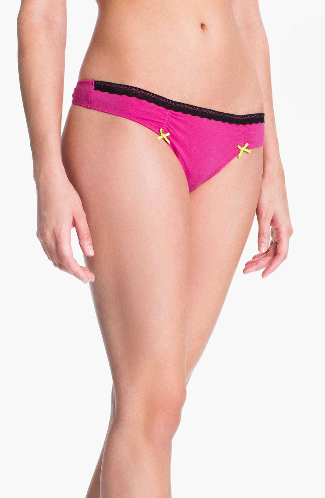 Alternate Image 1 Selected - Betsey Johnson Low Rise Stretch Cotton Thong