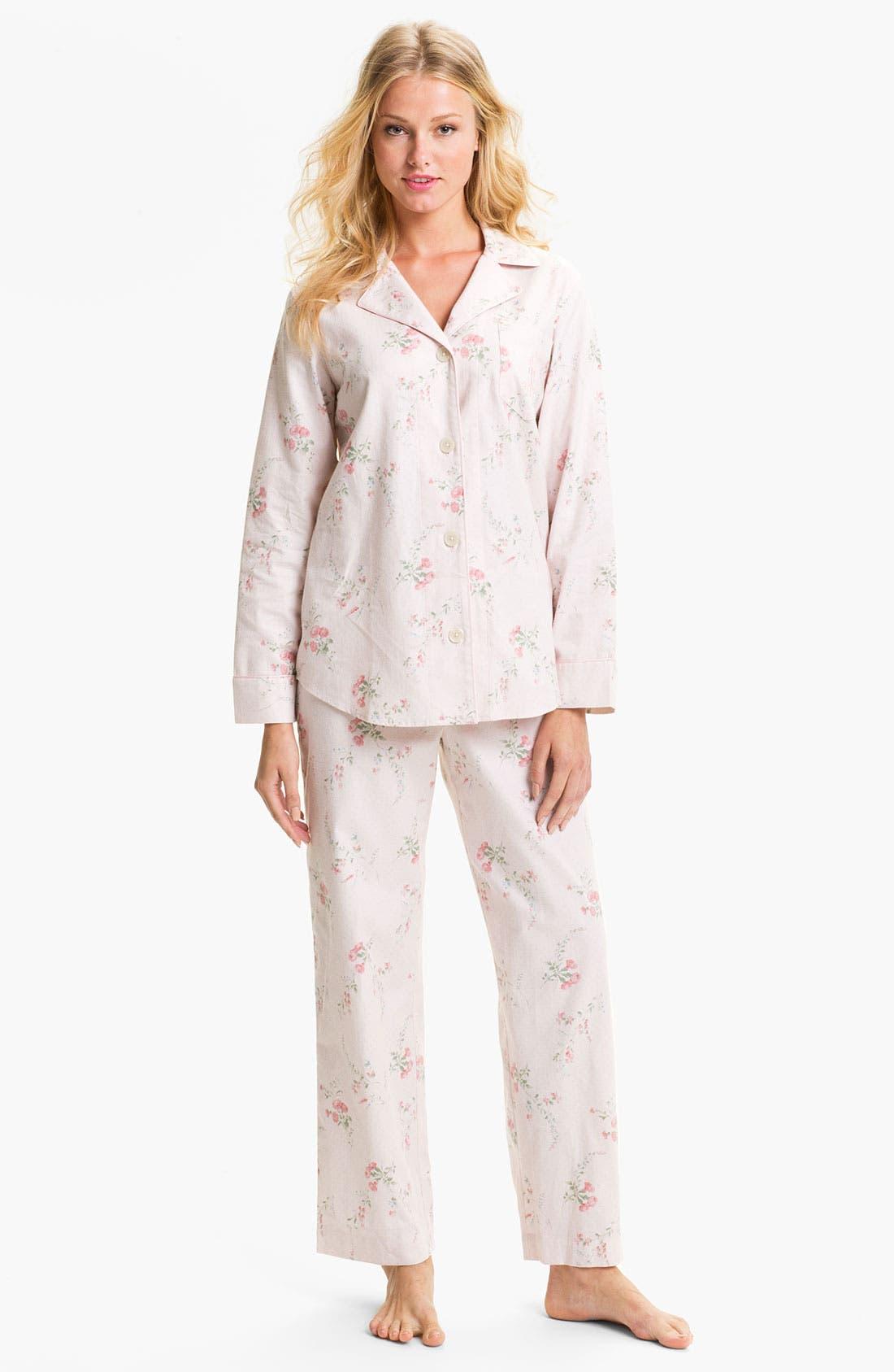 Main Image - Lauren Ralph Lauren Sleepwear Pattern Brushed Twill Pajamas