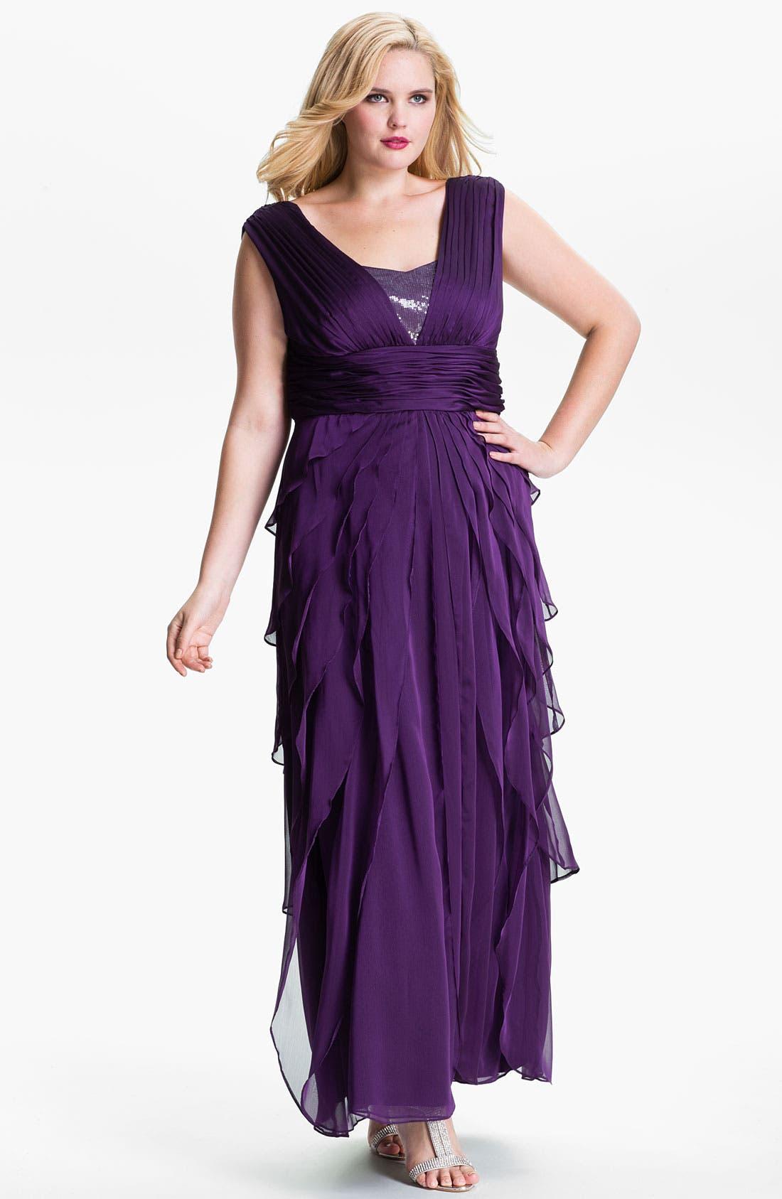 Main Image - Adrianna Papell Chiffon Petal Gown (Plus)