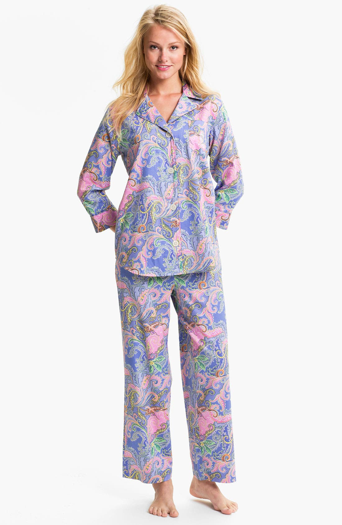 Alternate Image 1 Selected - Lauren Ralph Lauren Sleepwear Paisley Sateen Pajamas
