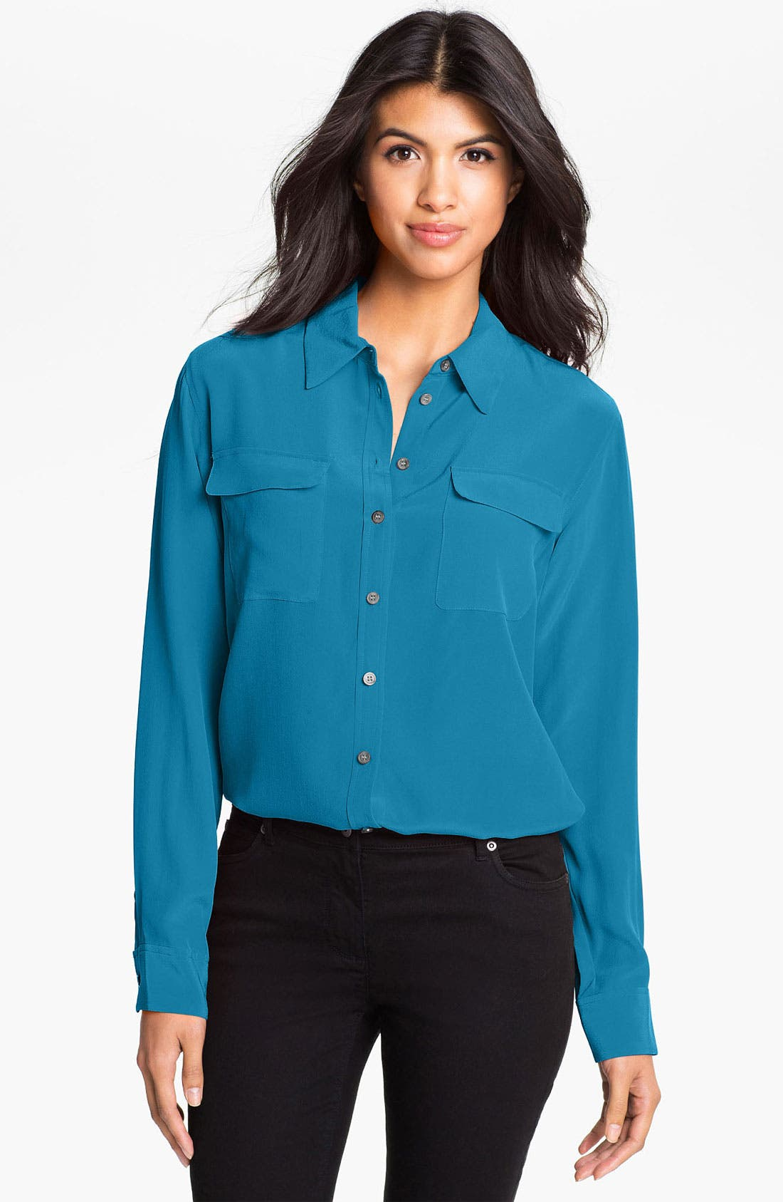 Alternate Image 1 Selected - Two by Vince Camuto Silk Utility Blouse