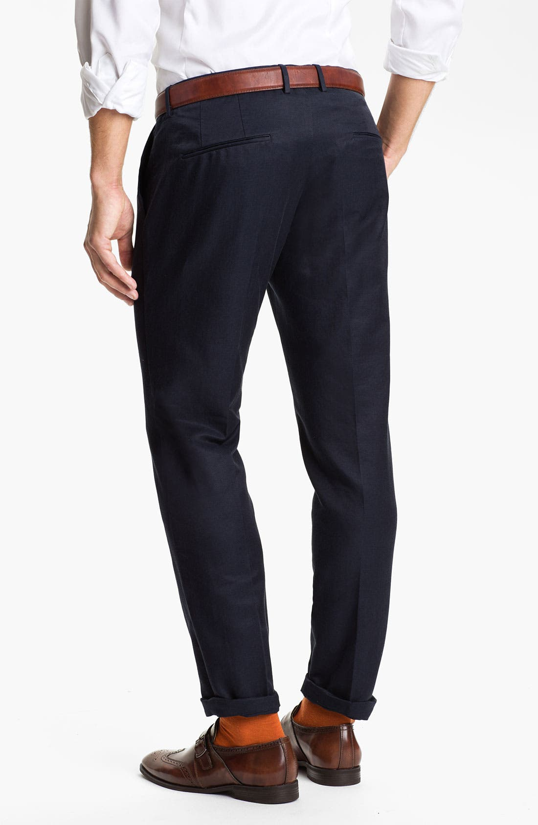 Alternate Image 2  - BOSS Black 'Caleb' Flat Front Silk Blend Pants (Online Only)