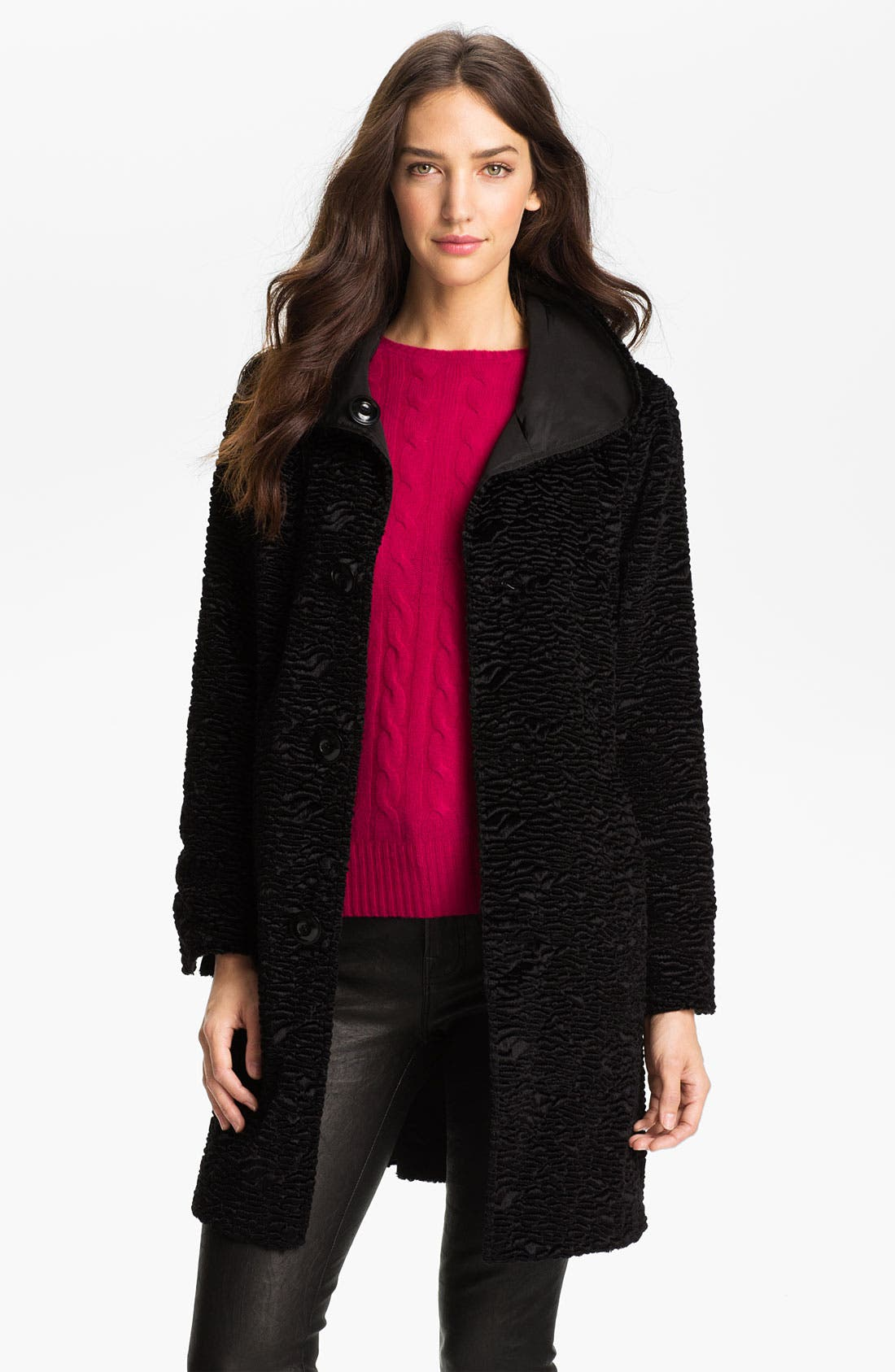 Alternate Image 3  - Ellen Tracy Reversible Faux Persian Lamb Fur Coat (Regular & Petite) (Nordstrom Exclusive)