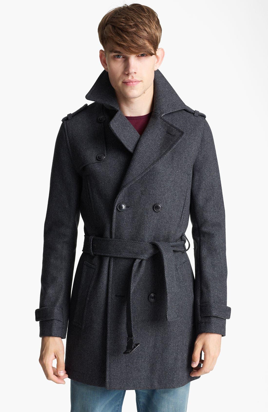 Main Image - Topman Wool Blend Trench Coat