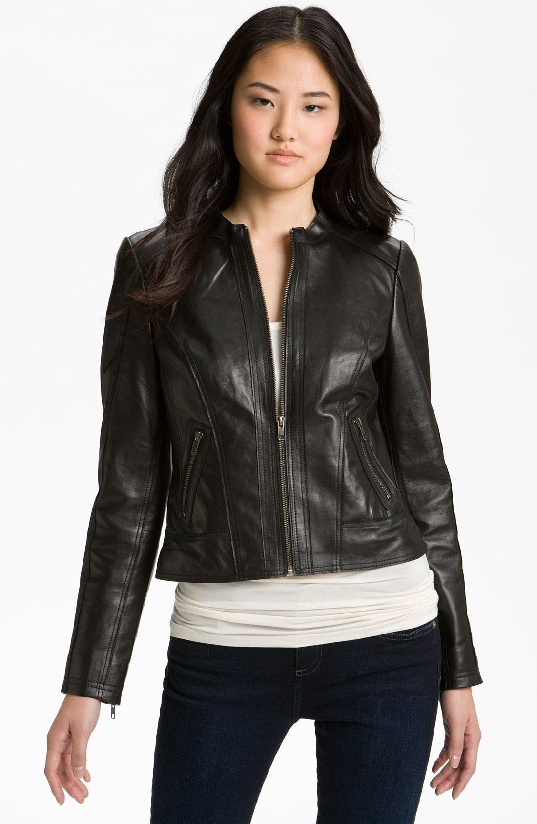 Alternate Image 1 Selected - Halogen® Seamed Leather Jacket (Petite)