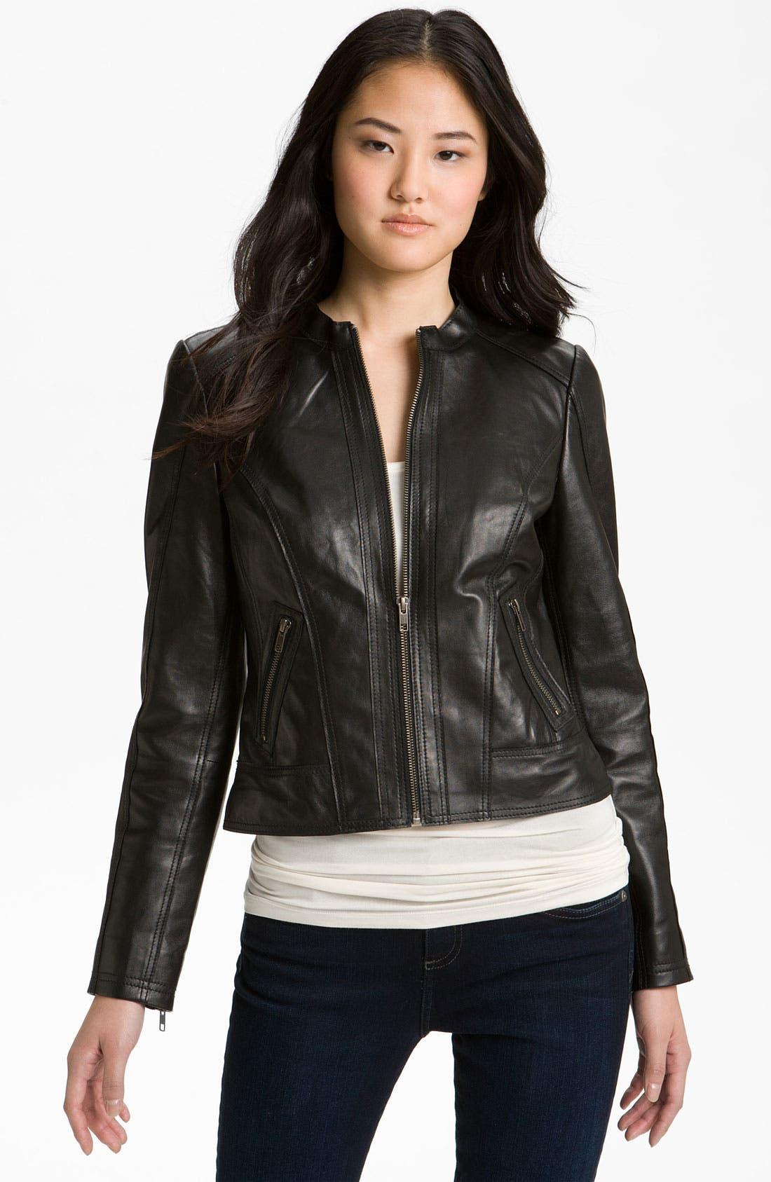 Main Image - Halogen® Seamed Leather Jacket (Petite)